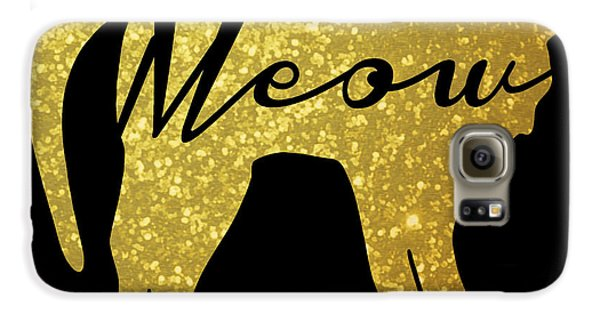 Cat Galaxy S6 Case - Golden Glitter Cat - Meow by Pati Photography