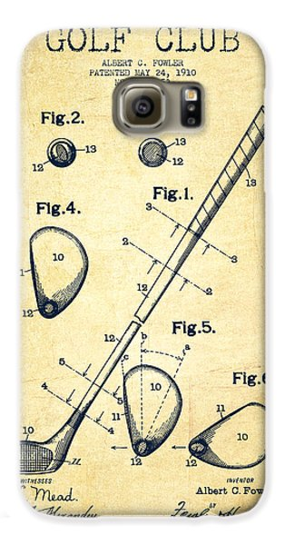 Golf Galaxy S6 Case - Golf Club Patent Drawing From 1910 - Vintage by Aged Pixel