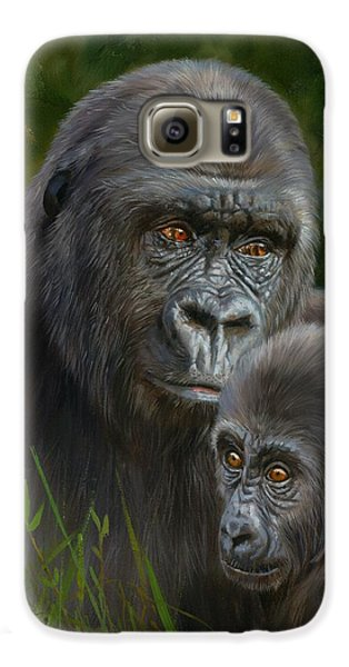 Gorilla And Baby Galaxy S6 Case by David Stribbling