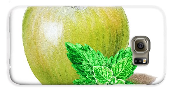 Galaxy S6 Case featuring the painting Green Apple And Mint by Irina Sztukowski