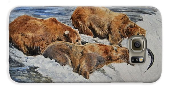 Grizzly Bear Galaxy S6 Case - Grizzlies Fishing by Juan  Bosco