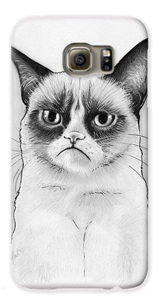 Cat Galaxy S6 Case - Grumpy Cat Portrait by Olga Shvartsur