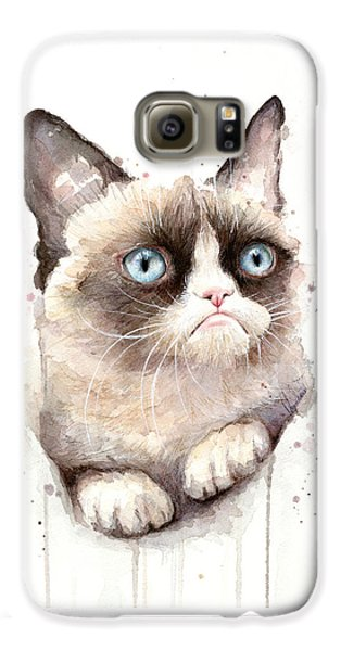 Grumpy Cat Watercolor Galaxy S6 Case by Olga Shvartsur
