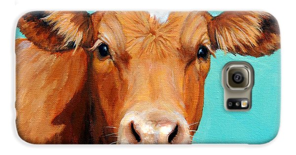 Cow Galaxy S6 Case - Guernsey Cow On Light Teal No Horns by Dottie Dracos