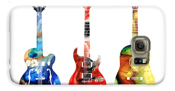 Largemouth Bass Galaxy S6 Case - Guitar Threesome - Colorful Guitars By Sharon Cummings by Sharon Cummings