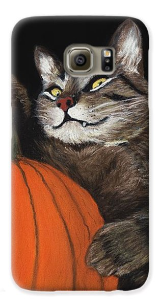 Galaxy S6 Case featuring the painting Halloween Cat by Anastasiya Malakhova