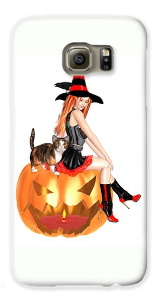 Luxmaris Galaxy S6 Case - Halloween Witch Nicki With Kitten by Renate Janssen