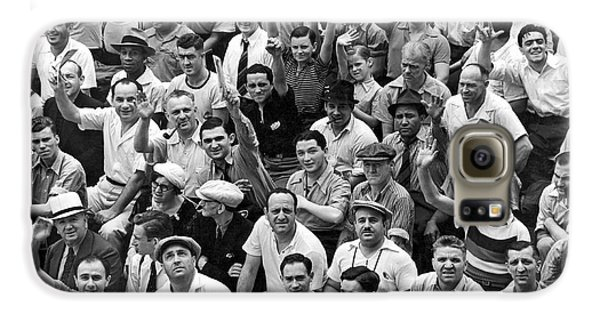 Happy Baseball Fans In The Bleachers At Yankee Stadium. Galaxy S6 Case by Underwood Archives
