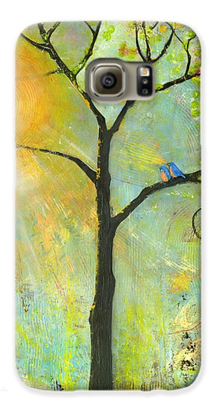 Hello Sunshine Tree Birds Sun Art Print Galaxy S6 Case by Blenda Studio