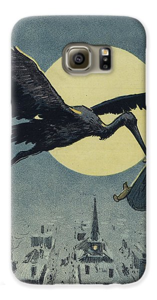 Stork Galaxy S6 Case - Here Comes The Stork Circa Circa 1913 by Aged Pixel