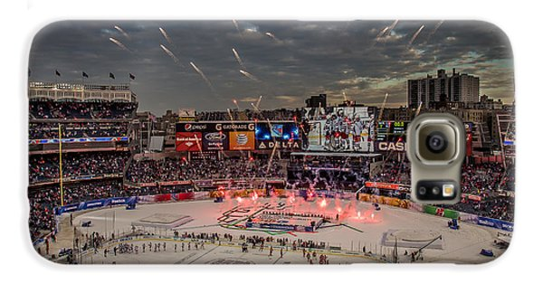 Hockey Galaxy S6 Case - Hockey At Yankee Stadium by David Rucker