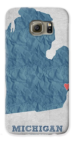 I Love Detroit Michigan - Blue Galaxy S6 Case by Aged Pixel