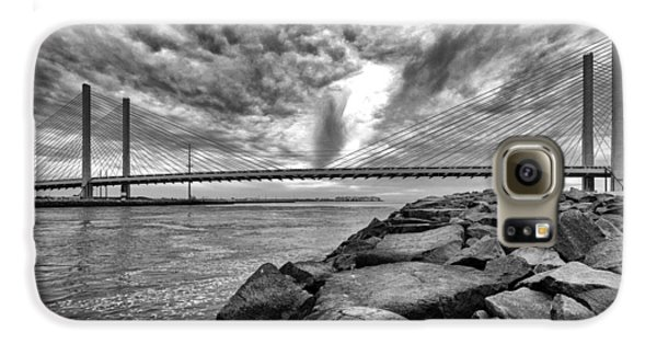 Indian River Bridge Clouds Black And White Galaxy S6 Case