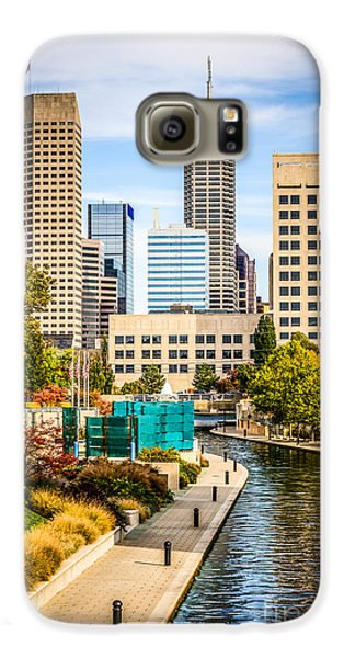 Indianapolis Skyline Picture Of Canal Walk In Autumn Galaxy S6 Case by Paul Velgos
