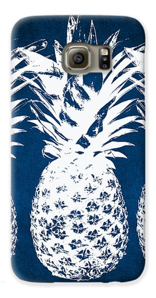Indigo And White Pineapples Galaxy S6 Case by Linda Woods