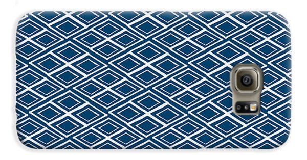 Indigo And White Small Diamonds- Pattern Galaxy S6 Case by Linda Woods