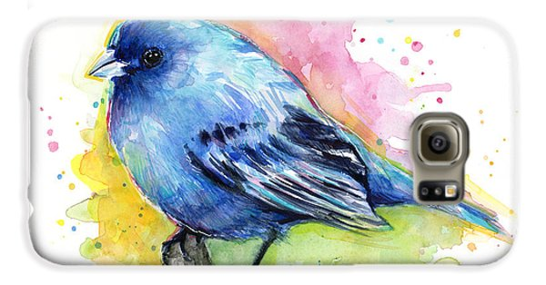 Indigo Bunting Blue Bird Watercolor Galaxy S6 Case by Olga Shvartsur