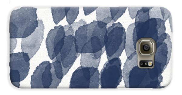 Indigo Rain- Abstract Blue And White Painting Galaxy S6 Case by Linda Woods