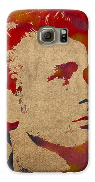 James Dean Watercolor Portrait On Worn Distressed Canvas Galaxy S6 Case by Design Turnpike