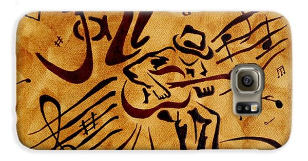 Galaxy S6 Case featuring the painting Jazz Abstract Coffee Painting by Georgeta  Blanaru
