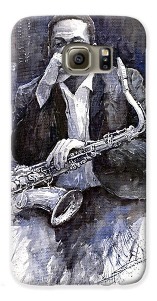 Jazz Galaxy S6 Case - Jazz Saxophonist John Coltrane Black by Yuriy Shevchuk
