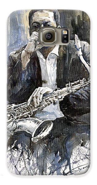Jazz Galaxy S6 Case - Jazz Saxophonist John Coltrane Yellow by Yuriy Shevchuk