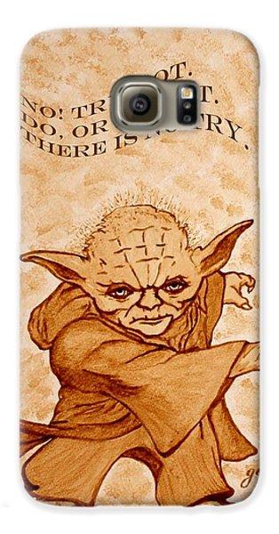 Galaxy S6 Case featuring the painting Jedi Yoda Wisdom by Georgeta  Blanaru