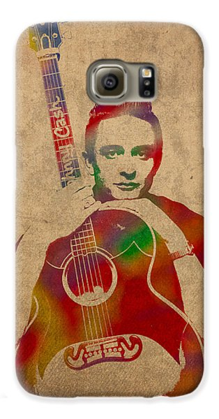 Johnny Cash Watercolor Portrait On Worn Distressed Canvas Galaxy S6 Case by Design Turnpike