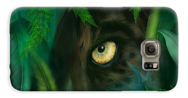 Jungle Eyes - Panther Galaxy S6 Case by Carol Cavalaris