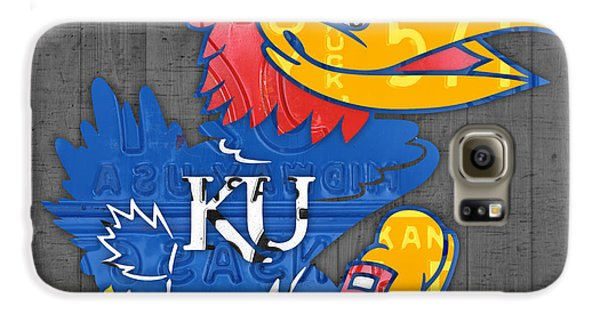 Kansas Jayhawks College Sports Team Retro Vintage Recycled License Plate Art Galaxy S6 Case by Design Turnpike