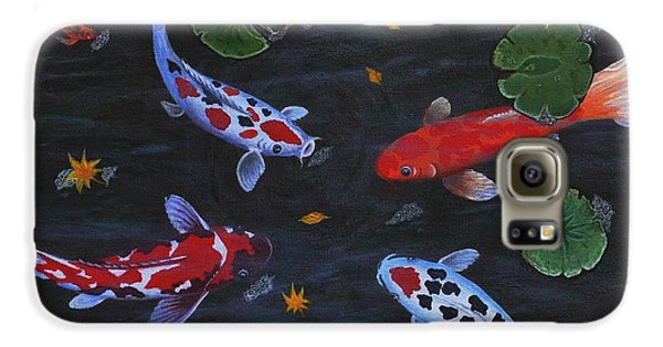 Galaxy S6 Case featuring the painting Koi Fishes Original Acrylic Painting by Georgeta  Blanaru