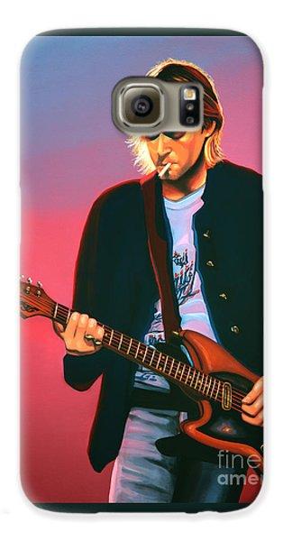 Seattle Galaxy S6 Case - Kurt Cobain In Nirvana Painting by Paul Meijering