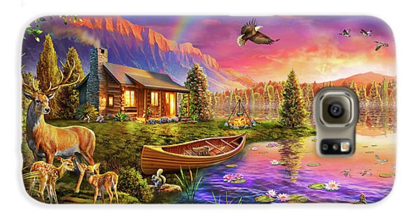 Galaxy S6 Case featuring the drawing Lakeside Cabin  by Adrian Chesterman