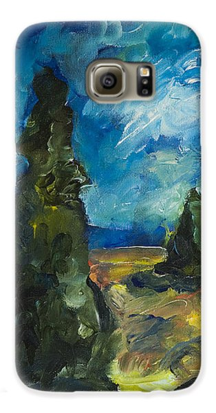 Galaxy S6 Case featuring the painting Emerald Spires by Yulia Kazansky