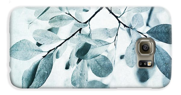 Leaves In Dusty Blue Galaxy S6 Case by Priska Wettstein