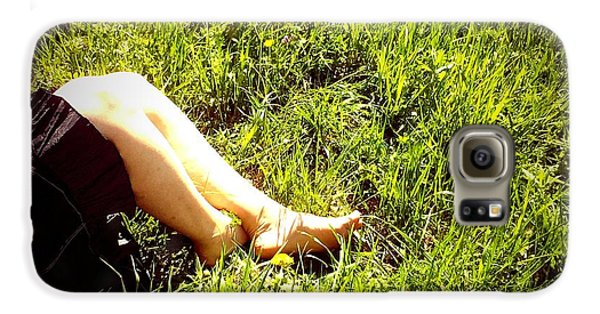 Sunny Galaxy S6 Case - Legs Of A Woman And Green Grass by Matthias Hauser