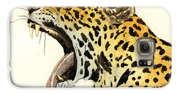 Leopard Head Galaxy S6 Case by Juan  Bosco