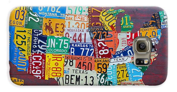 License Plate Map Of The United States Galaxy S6 Case