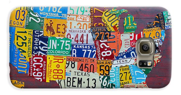 License Plate Map Of The United States Galaxy S6 Case by Design Turnpike
