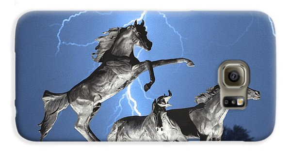 Lightning At Horse World Bw Color Print Galaxy S6 Case by James BO  Insogna