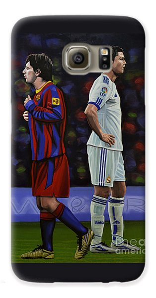 Lionel Messi And Cristiano Ronaldo Galaxy S6 Case by Paul Meijering