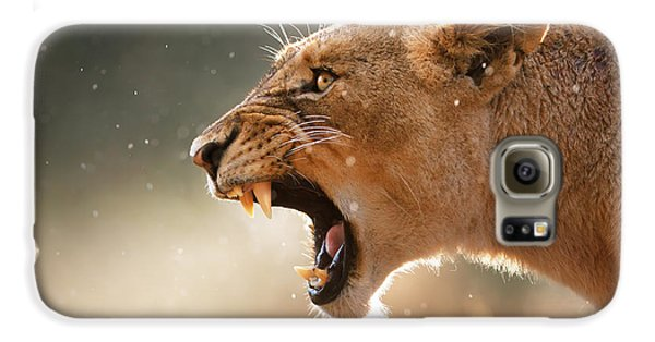 Animals Galaxy S6 Case - Lioness Displaying Dangerous Teeth In A Rainstorm by Johan Swanepoel