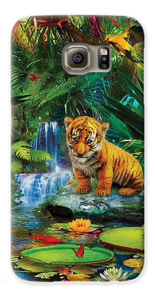 Galaxy S6 Case featuring the drawing Little Tiger by Jan Patrik Krasny