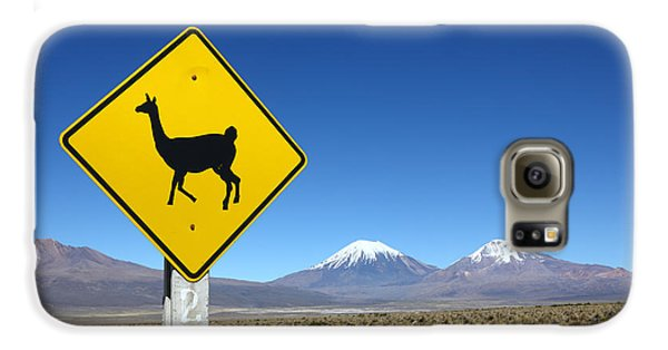 Llamas Crossing Sign Galaxy S6 Case by James Brunker