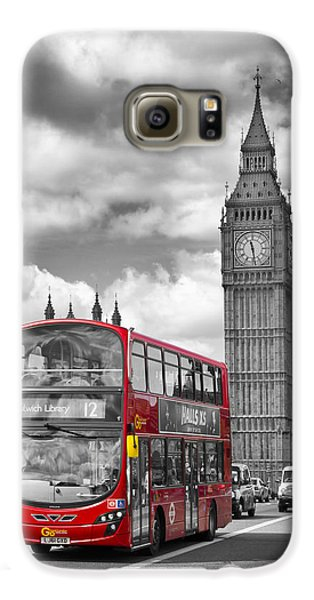 London - Houses Of Parliament And Red Bus Galaxy S6 Case by Melanie Viola