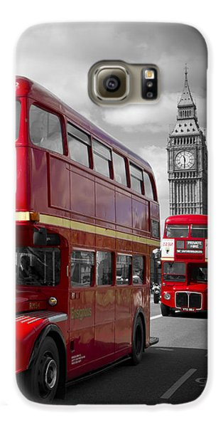 London Red Buses On Westminster Bridge Galaxy S6 Case by Melanie Viola