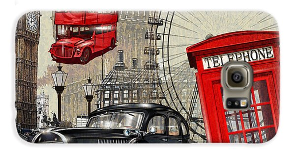 Automobile Galaxy S6 Case - London Vintage Poster by Axpop