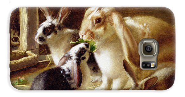 Long-eared Rabbits In A Cage Watched By A Cat Galaxy S6 Case by Horatio Henry Couldery