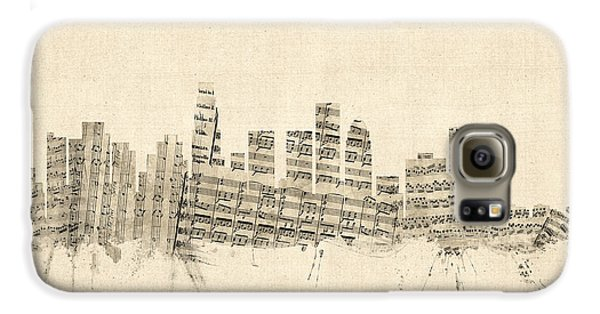 Los Angeles California Skyline Sheet Music Cityscape Galaxy S6 Case by Michael Tompsett