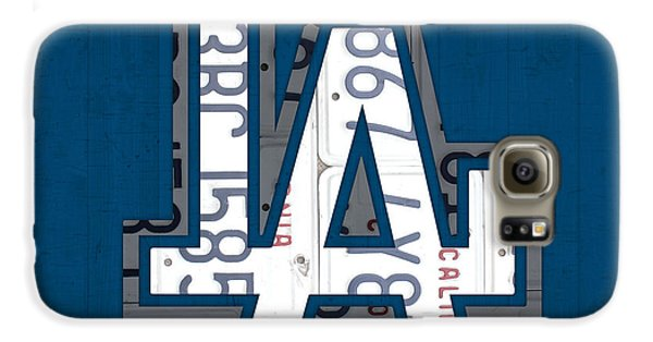Los Angeles Dodgers Galaxy S6 Case - Los Angeles Dodgers Baseball Vintage Logo License Plate Art by Design Turnpike